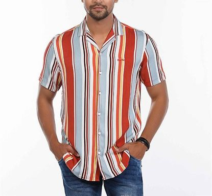 Slim Fit Cotton Striped Shirt for Men ORNG RN-FOY-SS21-SM2132