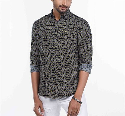 Slim Fit Cotton Printed Shirt for Men NVY RN-FOY-SS21-SM2124