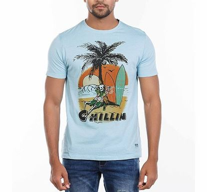Muscle Fit Cotton Printed T-shirt for Men SKBLUE RN-AL-SS21-MT608