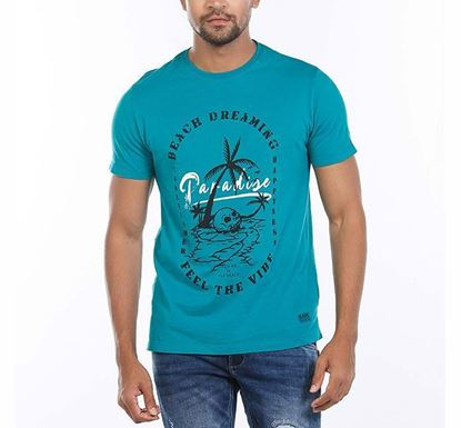 Muscle Fit Cotton Printed T-shirt for Men GRN RN-AL-SS21-MT607