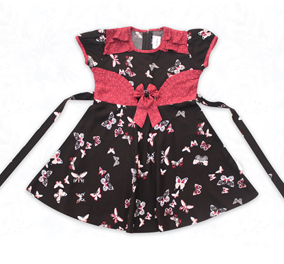 Diganta Butterfly Print Linen Half Sleeve Frock for Baby Girl HF-484