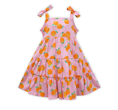 Diganta Print Pink Cotton Frock for Baby Girl SF-513