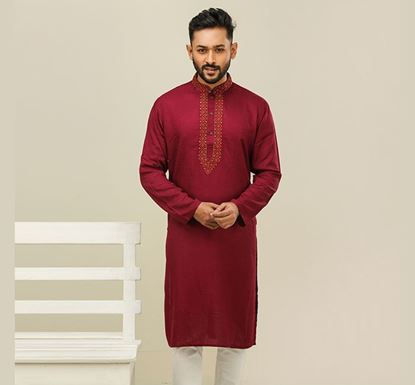 Semi Long Indian Cotton Punjabi for Men - ES1843