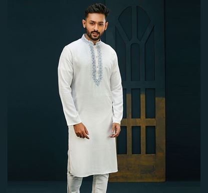 Semi Long Indian Cotton Punjabi for Men - ES1844