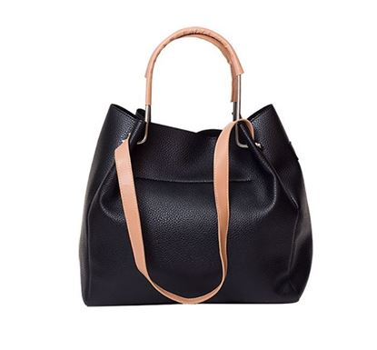 Leather Hand Bag for Ladies RB-207 BLK