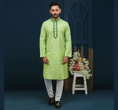 Semi Long Indian Cotton Punjabi for Men - ES2323