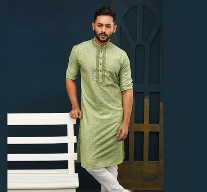 Semi Long Indian Cotton Punjabi for Men - ES2324