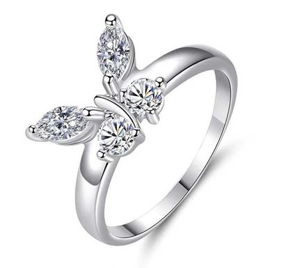 Butterfly Shining Crystal Zicron Finger Ring for Women FR-117