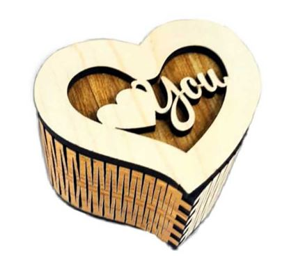Heart Shape Wooden Ring Holder Box RB-31A