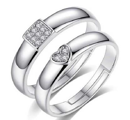 Crystal Heart Square Adjustable Couple Rings CR-26