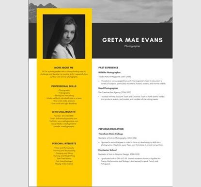 Photography Resume by PowerPoint - 13540030