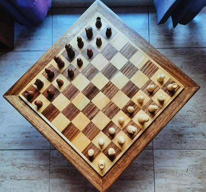 Wooden Square Chess Board - Mrinmoyee