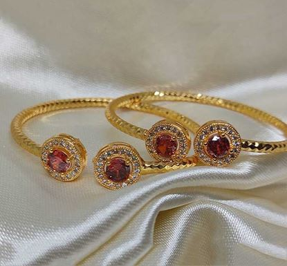 Gold Plated Red Stone Work Bracelet TR-1498