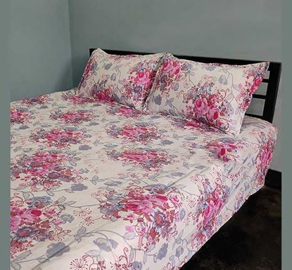 King Size Cotton Bed Sheet with Two Pillow Covers B-356