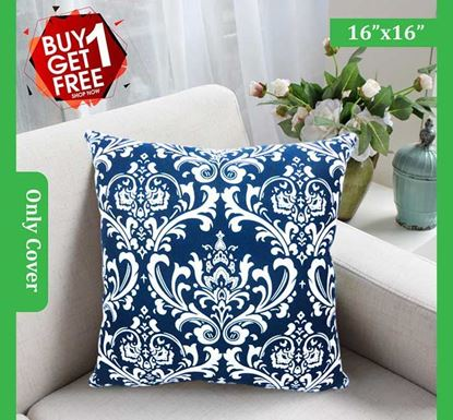Decorative Cotton Cushion Cover 16 x 16 Inch - 77327 (Buy 1 & Get 1 Free)