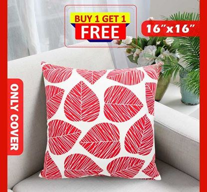 Decorative Cotton Cushion Cover 16 x 16 Inch - 77390 (Buy 1 & Get 1 Free)