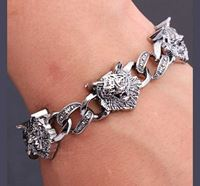 Tiger Head Charms Cuff Bracelet for Men (MB-06)