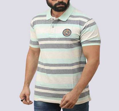 Half Sleeve Striped Polo T-shirt for Men - PL- 155