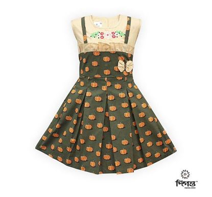 Diganta Print Cotton Linen Embroidery Frock for Baby Girl SF-526