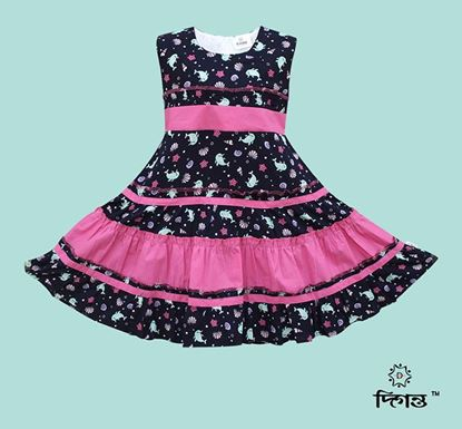 Diganta Coral Beauty Print Linen Frock for Baby Girl SF-521
