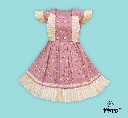 Diganta Flower Print Cotton Frock for Baby Girl HF-492
