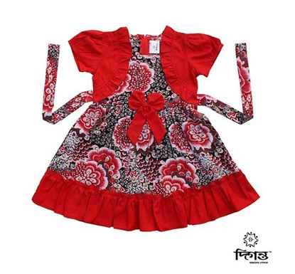 Diganta Flower Print Cotton Frock for Baby Girl HF-522