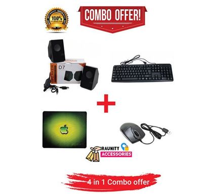 4 in 1 Combo Pack Dual Speaker + USB Keyboard with Bangla + A4Tech Mouse + Mousepad