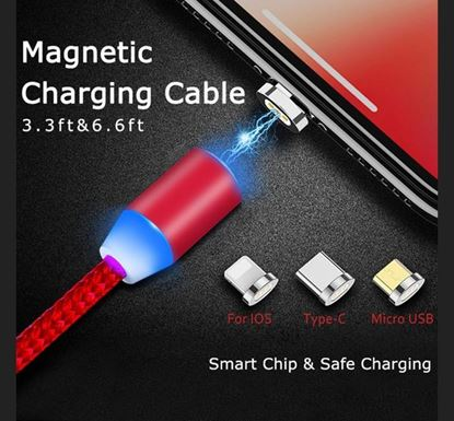 3 In 1 Magnetic Charging Cable USB 1m Led 2.4A Fast Charging