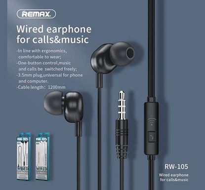 Remax RW105 Earphone With HD Mic In-Ear 3.5mm Jack Wired Headset