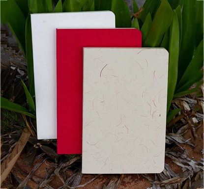 Yellowish Page Hand Made Texture Grey, Red & Texture White Cover Notebook 3-Pack