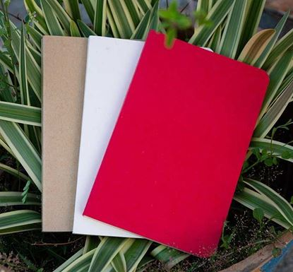 Yellowish Page Hand Made Kraft, Red & Texture White Cover Notebook 3-Pack