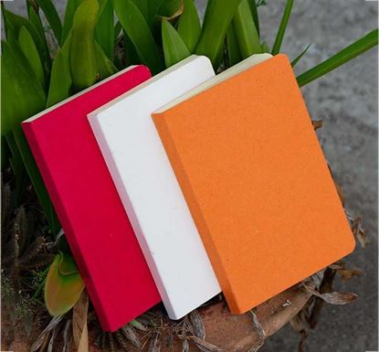 Yellowish Page Hand Made Orange, Red & Texture White Cover Notebook 3-Pack