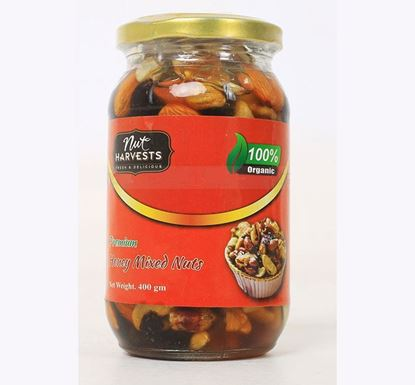 Nut Harvests Premium Raw Mixed Nuts with Honey (Glass Jar) 400 GM