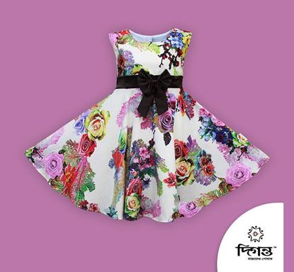 Diganta Big Flower Print Linen (In Side Cotton) Frock for Baby Girl SF-548