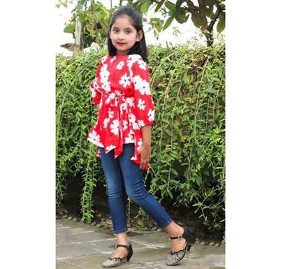 Soft Georgette Tops for Baby Girl - DB1228R