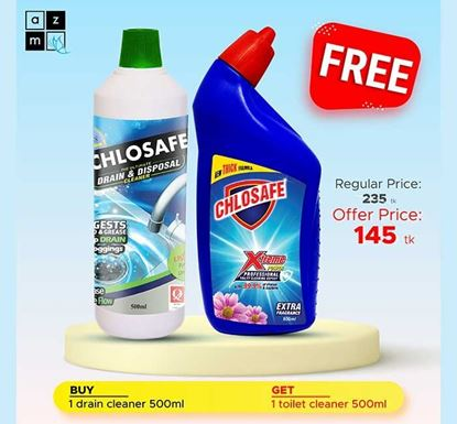 Buy Chlosafe Drain Cleaner 500ml & Get 1 Chlosafe Toilet Cleaner 500ml Free