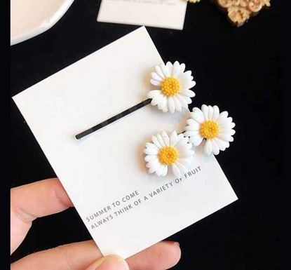 2 Pieces Cute Colorful Daisy Flower Hair Clips WHI