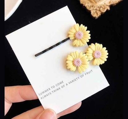 2 Pieces Cute Colorful Daisy Flower Hair Clips YELL