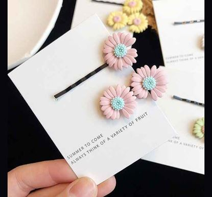 2 Pieces Cute Colorful Daisy Flower Hair Clips PIN